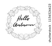 hand drawn autumn wreath with... | Shutterstock . vector #1156526623