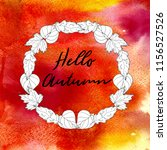 hand drawn autumn wreath with... | Shutterstock . vector #1156527526