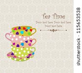 tea time with stacked colorful... | Shutterstock .eps vector #115653538