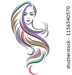 illustration of women long hair ... | Shutterstock .eps vector #1156540570
