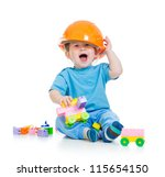 kid playing with building... | Shutterstock . vector #115654150