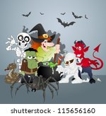 halloween monsters party... | Shutterstock .eps vector #115656160