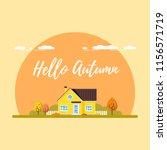family suburban home. autumn... | Shutterstock .eps vector #1156571719