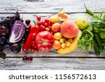 multicolored fresh fruits and... | Shutterstock . vector #1156572613