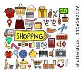 set of shopping doodle vector....   Shutterstock .eps vector #1156582129