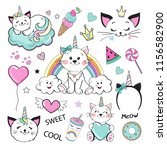 fashion patch badges with cat... | Shutterstock .eps vector #1156582900