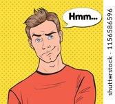pop art concerned man portrait. ... | Shutterstock .eps vector #1156586596