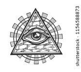 masonic symbol eye in pyramid...   Shutterstock .eps vector #1156588873