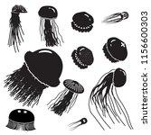 jellyfish icon set. set of... | Shutterstock .eps vector #1156600303