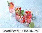 glasses with strawberry mojito...   Shutterstock . vector #1156607893