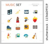 music icon set. trumpet player...   Shutterstock .eps vector #1156609519