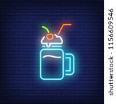 milk cocktail with straw neon... | Shutterstock .eps vector #1156609546