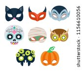 halloween party masks vector... | Shutterstock .eps vector #1156610056
