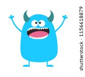 cute blue monster icon. happy... | Shutterstock . vector #1156618879