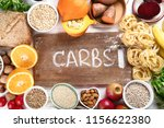 foods high in carbohydrates.... | Shutterstock . vector #1156622380