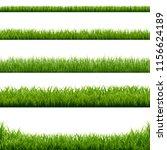 big set green grass borders  | Shutterstock . vector #1156624189