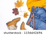 female orange knitted sweater ... | Shutterstock . vector #1156642696