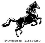Stock vector horse stand up vector image black and white picture isolated on white background rearing stallion 115664350