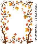 maple leaves frame  | Shutterstock .eps vector #1156653580