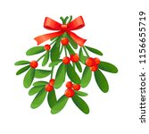 branch of mistletoe with... | Shutterstock .eps vector #1156655719
