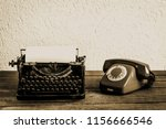 old typewriter with books  on... | Shutterstock . vector #1156666546