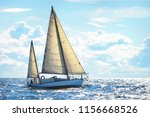 wooden yawl yacht sailing on a... | Shutterstock . vector #1156668526