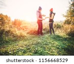 happy couple in casual clothes... | Shutterstock . vector #1156668529