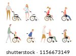 people in a wheelchair.... | Shutterstock .eps vector #1156673149