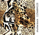 Small photo of Seamless wild leopard safari skin pattern. Mix of Tiger skin, jaguar skin, leopard print.