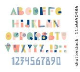 vector set with hand drawn font ... | Shutterstock .eps vector #1156690486