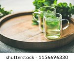 hot herbal mint tea drink in... | Shutterstock . vector #1156696330