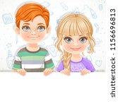 cute blond girl in violet tee... | Shutterstock .eps vector #1156696813