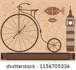 steampunk vintage metal... | Shutterstock .eps vector #1156705336