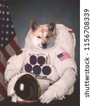the cosmonaut dog dressed in a...   Shutterstock . vector #1156708339