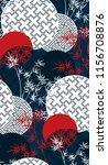 blue red white bamboo plant... | Shutterstock .eps vector #1156708876