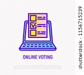 online voting thin line icon ... | Shutterstock .eps vector #1156715239