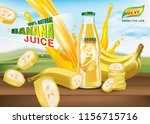 banana bottled juice with fresh ... | Shutterstock .eps vector #1156715716