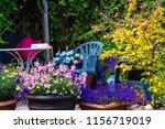 beautiful  summer garden with... | Shutterstock . vector #1156719019