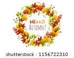 foliage frame. wreath of autumn ...   Shutterstock .eps vector #1156722310