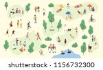 various people at park... | Shutterstock . vector #1156732300