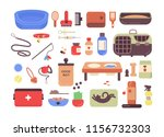 Stock photo collection of pet shop goods for cats and dogs isolated on white background set of items for 1156732303