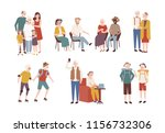 collection of happy elderly... | Shutterstock . vector #1156732306