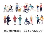 collection of disabled people... | Shutterstock . vector #1156732309