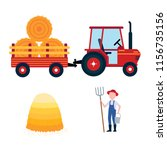red harvesting tractor with...   Shutterstock .eps vector #1156735156