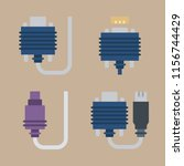 cables icons set. detail  port  ... | Shutterstock .eps vector #1156744429