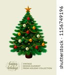 vintage christmas tree with... | Shutterstock . vector #1156749196