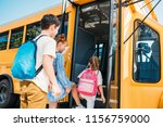 rear view of pupils with... | Shutterstock . vector #1156759000
