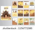 cute animal calendar 2019...   Shutterstock .eps vector #1156772380