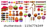 halloween sweet treats set.... | Shutterstock .eps vector #1156776349