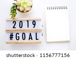 2019 goals on wood box and... | Shutterstock . vector #1156777156